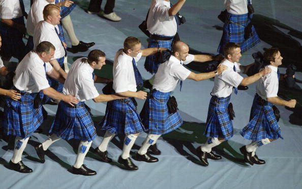 Scotland's delegation arrives in the stadium durin